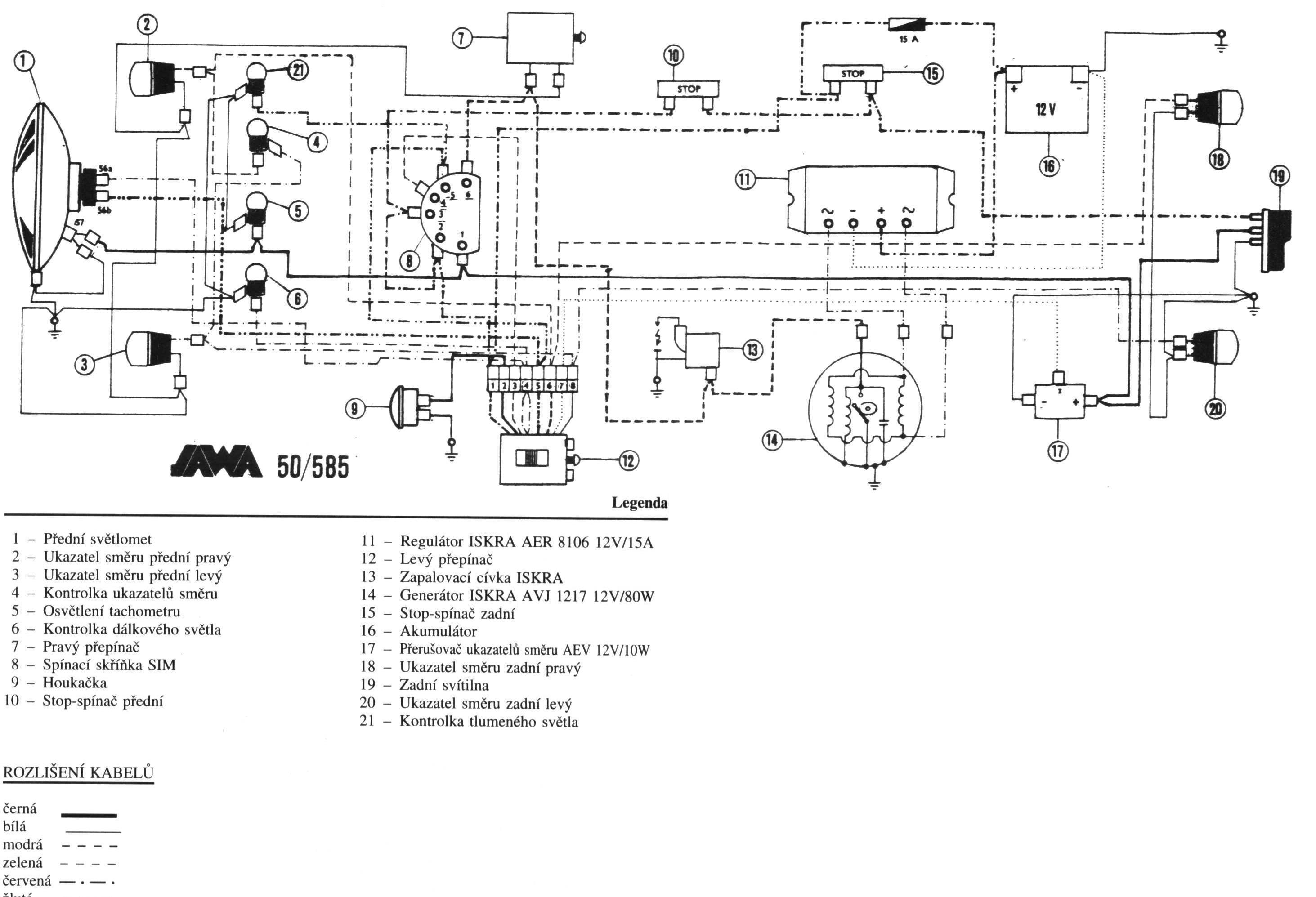 Elektricke Zapojeni Jawa 50 585 Mosquito Jawa A Cezet